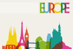 skyline monument silhouette of europe - stock illustration