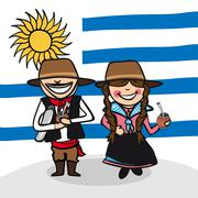 welcome to uruguay people - stock illustration
