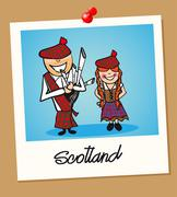 Stock Illustration of scotland travel polaroid people
