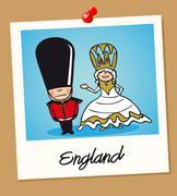 England travel polaroid people Stock Illustration