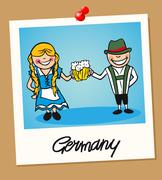 Germany travel polaroid people Stock Illustration