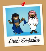 United arab emirates travel polaroid people Stock Illustration