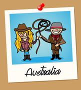 australia travel polaroid people - stock illustration