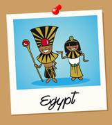 egypt travel polaroid people - stock illustration