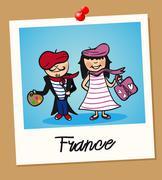france travel polaroid people - stock illustration