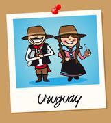 Uruguay travel polaroid people Stock Illustration