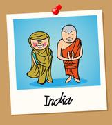 India travel polaroid people Stock Illustration