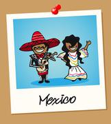 mexico travel polaroid people - stock illustration