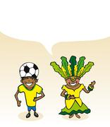 brazilian cartoon couple bubble dialogue - stock illustration