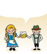 german cartoon couple bubble dialogue - stock illustration