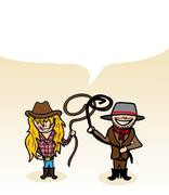 Australian cartoon couple bubble dialogue Stock Illustration