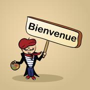 welcome to france people design - stock illustration