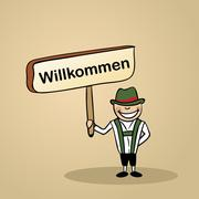 welcome to germany people design - stock illustration
