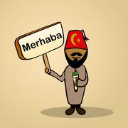 hello from turkey people design - stock illustration