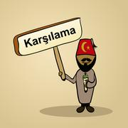 welcome to turkey people design - stock illustration