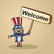 Welcome to usa people design Stock Illustration