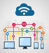 cloud computing network - stock illustration