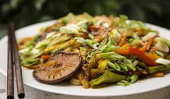 Stir Fried Pork with Veggies and Mushrooms - stock photo