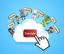 cloud computing translate concept - stock illustration