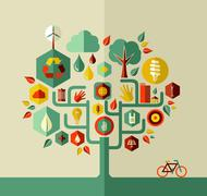 eco sustainable life tree - stock illustration