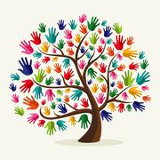 Colorful  solidarity hand tree Stock Illustration