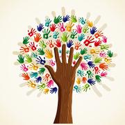 Stock Illustration of colorful multi-ethnic tree