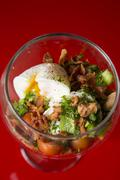 Eggs, bacon and veggie salad - stock photo