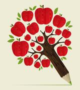 Red apples tree pencil concept Stock Illustration