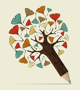 Ginkgo leaf concept pencil tree Stock Illustration
