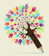 Diversity hand concept pencil tree Stock Illustration