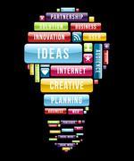 innovation ideas light bulb - stock illustration