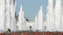 Fountain in a Victory park, Moscow, Russia Stock Footage