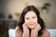beautiful woman with a gentle smile - stock photo