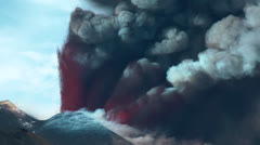 Lava fountain and volcanic smoke - stock footage