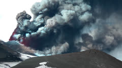 Spectacular volcanic ash (Etna eruption) - stock footage