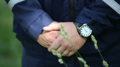 Men's hands clasped in castle Stock Footage