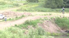 Motocross jump rider Stock Footage