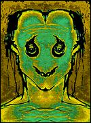 Hand draw monster portrait illustration with a sad and weak expression  in gr Stock Illustration