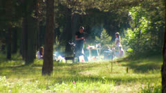 Family picnic in the forest Stock Footage