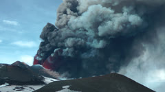 Etna - Eruption and lava fountain - stock footage