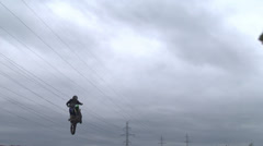 Motocross jump rider Stock Footage