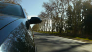 Stock Video Footage of Driving a car, windshield reflection. Hood side reference. HD