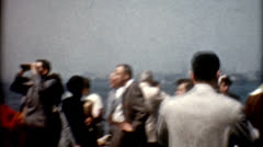Old film 1950s People viewing New York skyline vintage fashion lifestyle Stock Footage