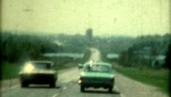 Travelling film 1960s driving country road view vintage passenger travel Stock Footage