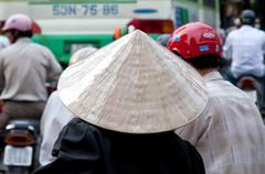 Woman Wearing a Traditional Vietnamese Conical Hat, Ho Chi Minh City Stock Photos
