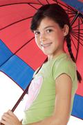 girl whit umbrella - stock photo