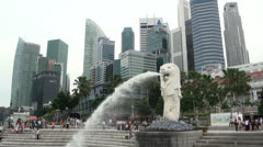 Singapore Merlion Statue and City Skyscrapers Wide Shot Stock Footage