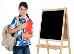 girl studying whit slate - stock photo