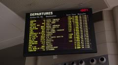 Airport Flight Departure Screen Stock Footage