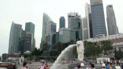 Singapore Merlion Statue and City Skyscrapers Wide Shot Pan Right - stock footage